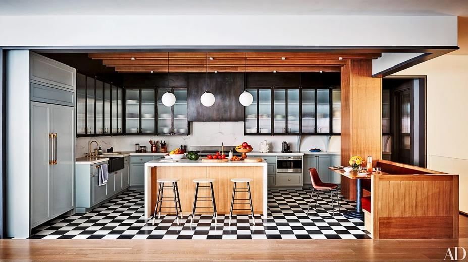 cocina abierta suelo checkered floor blanco negro damero