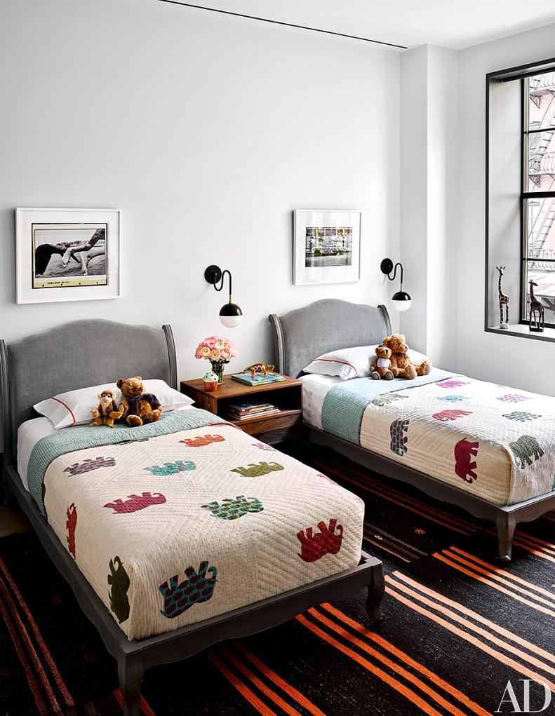 dormitorio doble infantil clasico vintage colcha elefantes aplique bola