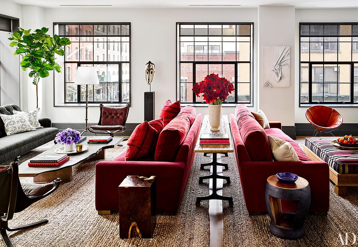 salon dos ambientes loft naomi watts famosa sofa terciopelo